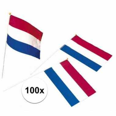 100x holland feest vlaggetjes rood/wit/blauw