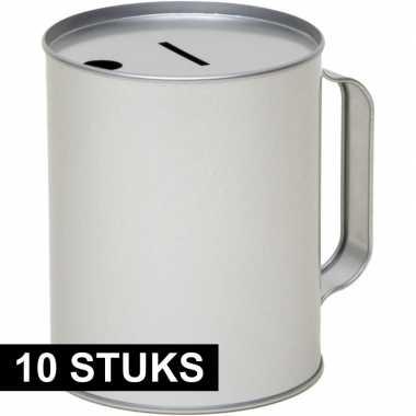 10x metalen inzamelings/collecte bus/box 13 zilver