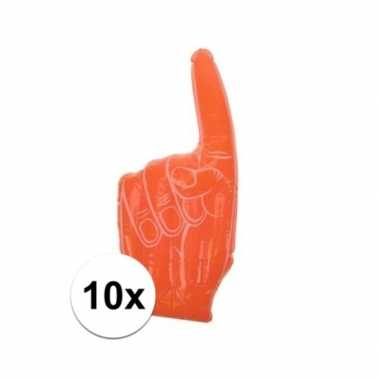 10x stuks opblaas handen oranje 55 23