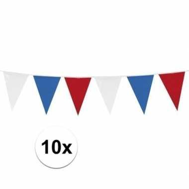 10x stuks rood wit blauwe vlaggetjes