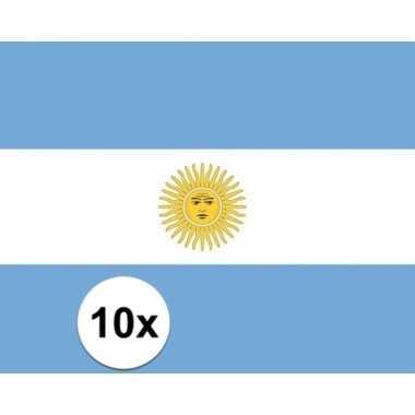 10x stuks stickers argentijnse vlag