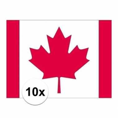 10x stuks stickers canadese vlag