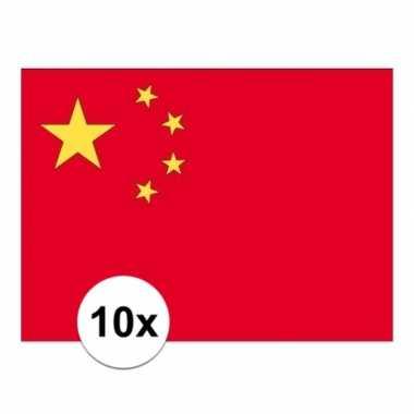10x stuks stickers chinese vlag