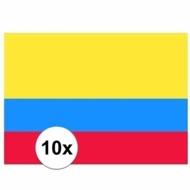 10x stuks stickers colombiaanse vlag