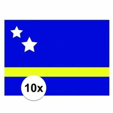 10x stuks stickers curacao vlag