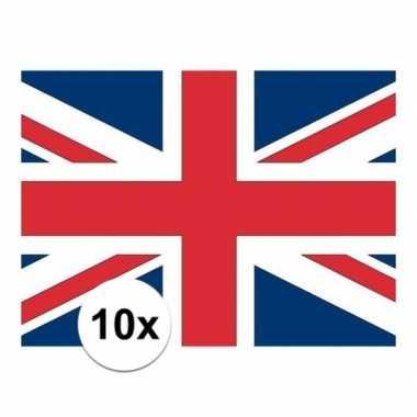 10x stuks stickers engelse vlag