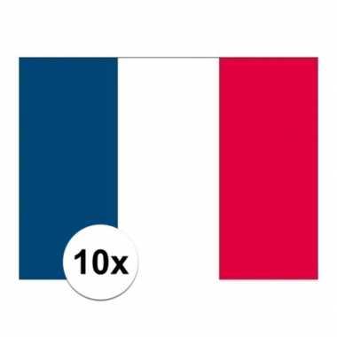 10x stuks stickers franse vlag