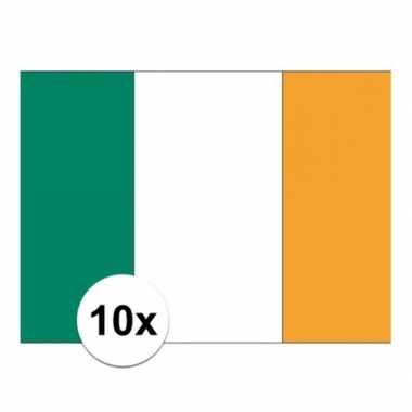 10x stuks stickers ierse vlag