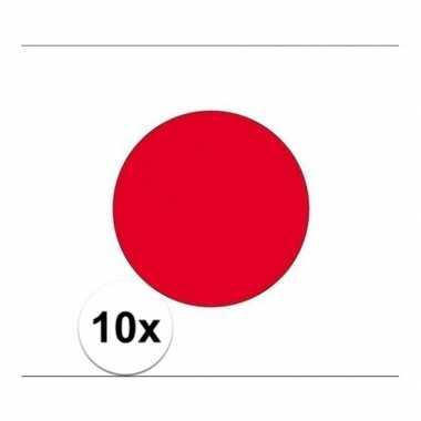 10x stuks stickers japanse vlag