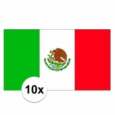 10x stuks stickers mexicaanse vlag