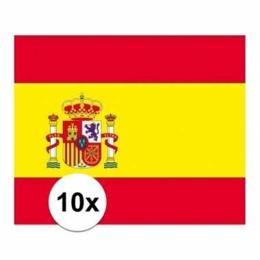 10x stuks stickers spaanse vlag