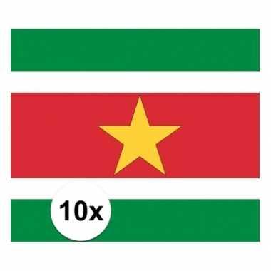 10x stuks stickers surinaamse vlag