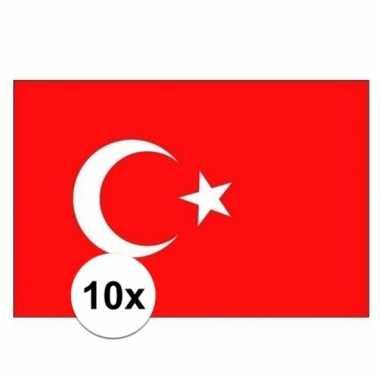 10x stuks stickers turkije vlag