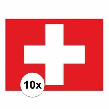 10x stuks stickers zwitserse vlag