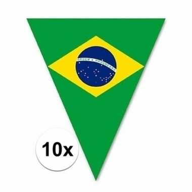 10x vlaggetjes lijn/slinger brazilie vlaggetjes 5 m