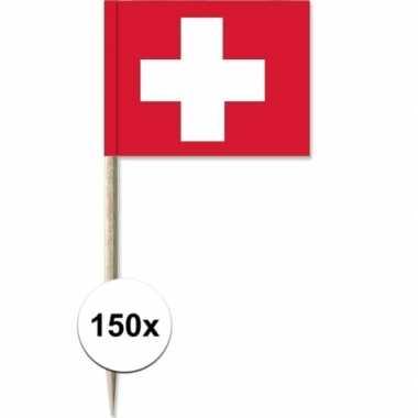 150x rood/witte zwitserse cocktailprikkertjes/kaasprikkertjes 8