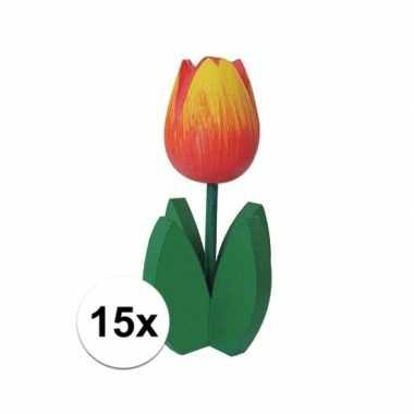 15x staande houten tulpen oranje