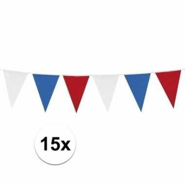 15x stuks rood wit blauwe vlaggetjes