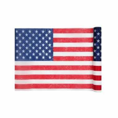 1x feestartikelen amerikaanse vlag tafelloper 30 500