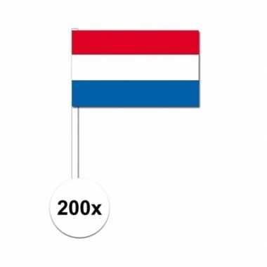 200x zwaaivlaggetjes nederlandse vlag