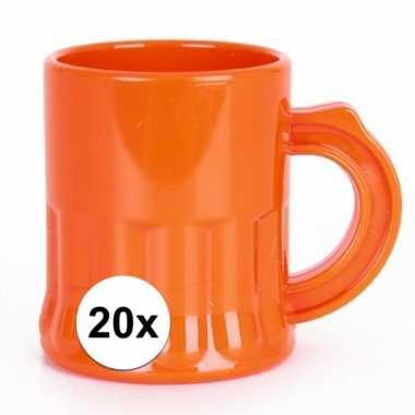 20x oranje shotglaasjes 2,5 cl