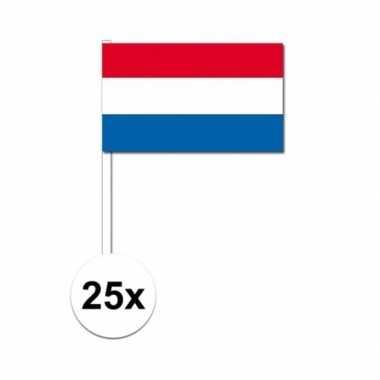 25x zwaaivlaggetjes nederlandse vlag