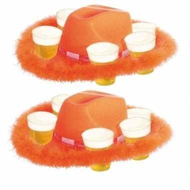 2x bonthoed oranje bierglazen