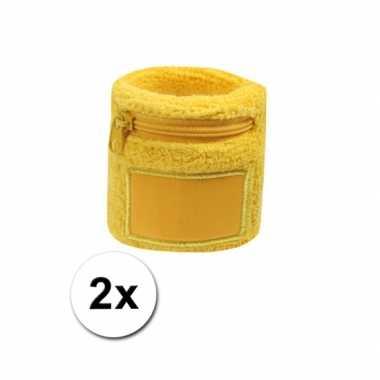 2x gele blauwe zweetbandjes zakje