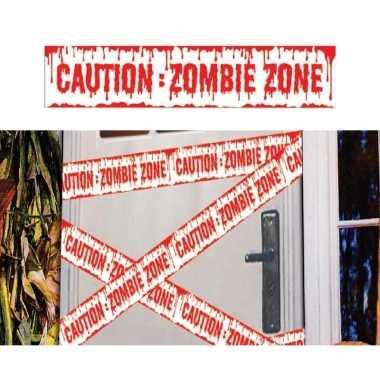 2x halloween thema markeerlint caution zombie zone 6 meter