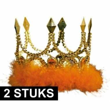 2x kroontjes oranje veren stenen