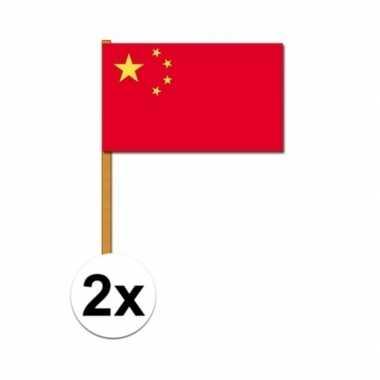 2x luxe zwaaivlaggen china 30 45