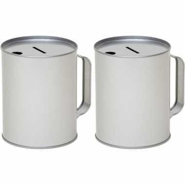 2x metalen inzamelings/collecte bus/box 13 zilver