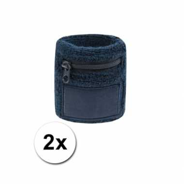 2x navy blauwe zweetbandjes zakje