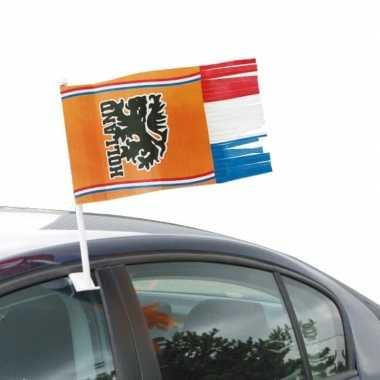 2x oranje holland autovlag voetbal supporter 30x35