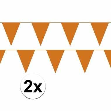 2x oranje vlaggenlijnen plastic
