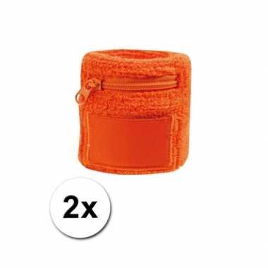 2x oranje zweetbandjes zakje
