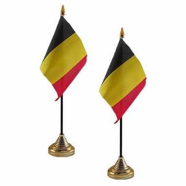 2x stuks belgie tafelvlaggetjes 10 15 standaard