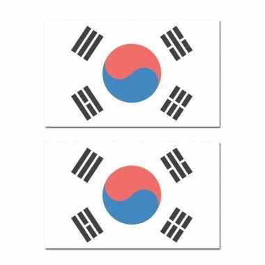 2x stuks landen vlaggen zuid korealanden thema vlaggen zuid korea 90 150 feestversiering