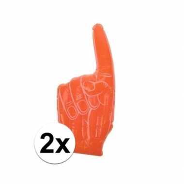 2x stuks opblaas handen oranje 55 23