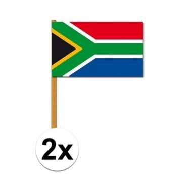 2x stuks zuid afrikaanse vlag zwaaivlaggen