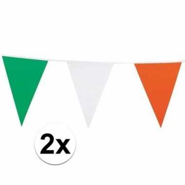 2x vlaggenlijn groen/wit/oranje 7 meter