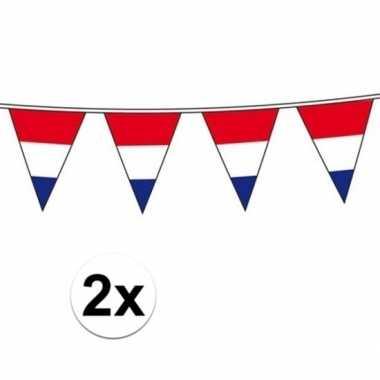 2x vlaggenlijn hollandse vlaggetjes