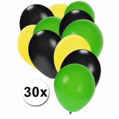 30 stuks ballonnen kleuren jamaica