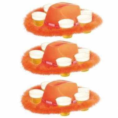 3x bonthoed oranje bierglazen