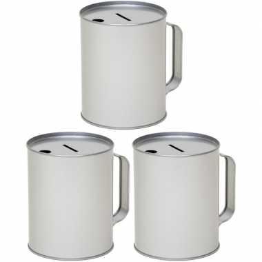 3x metalen inzamelings/collecte bus/box 13 zilver