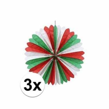 3x rood/wit/groen waaiers