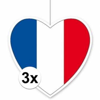 3x thema frankrijk hangversiering hart 28