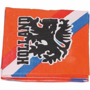 40x papieren servetjes oranje supporters leeuwen/leeuwinnen thema fee
