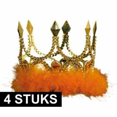 4x kroontjes oranje veren stenen