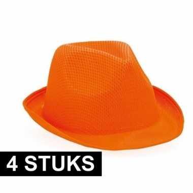 4x oranje trilby feesthoedje